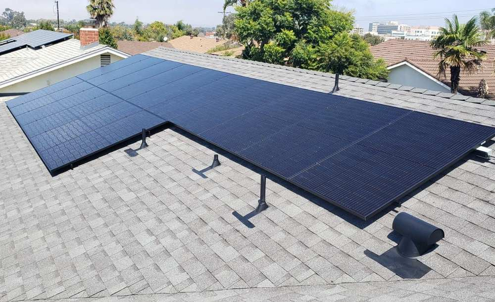 Solar panels on the roof of a San Diego home