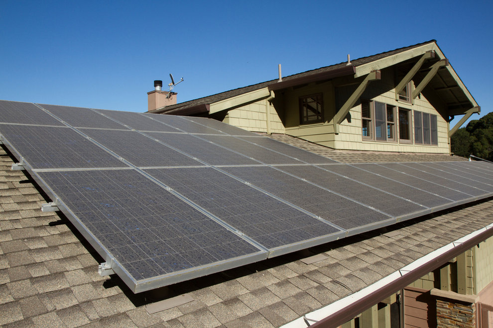 Solar panels on cool roof
