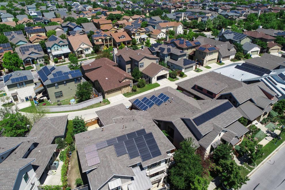 Solar panels in residential neighborhood